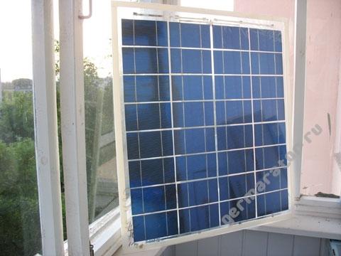 Самодельная солнечная батарея. Вид спереди.